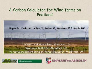 A Carbon Calculator for Wind farms on Peatland