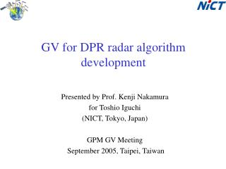 GV for DPR radar algorithm development