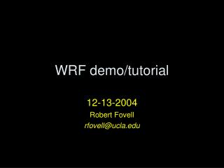 WRF demo/tutorial