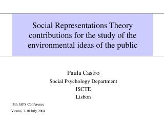 Social Representations Theory contributions for the study of the environmental ideas of the public