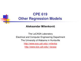 CPE 619 Other Regression Models