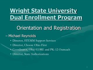 Wright State University Dual Enrollment Program