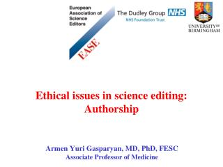 Ethical issues in science editing: Authorship