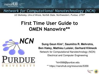 First Time User Guide to OMEN Nanowire**