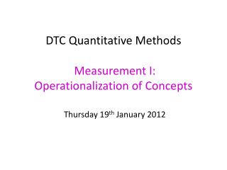 Operationalizing concepts