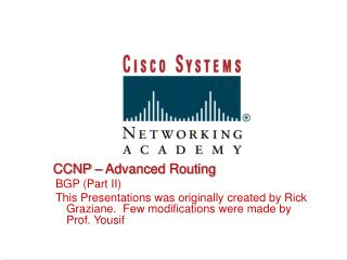 CCNP – Advanced Routing BGP (Part II)