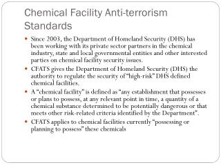 Chemical Facility Anti-terrorism Standards