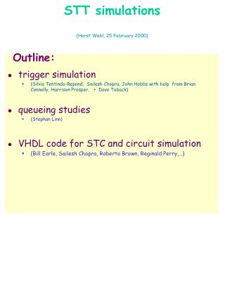 STT simulations (Horst Wahl, 25 February 2000)