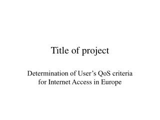 Title of project