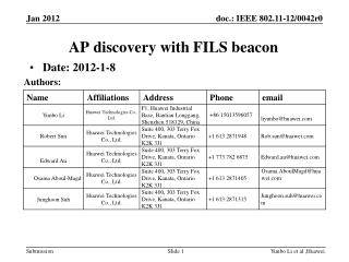 AP discovery with FILS beacon