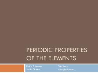 Periodic Properties of the Elements