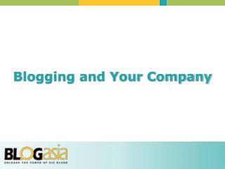 Blogging and Your Company