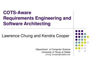 COTS-Aware  Requirements Engineering and Software Architecting