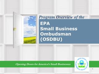 The EPA Small Business Ombudsman (SBO)