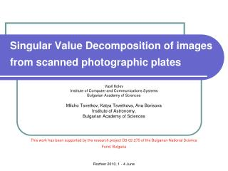 Singular Value Decomposition of images from scanned photographic plates