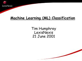 Machine Learning (ML) Classification