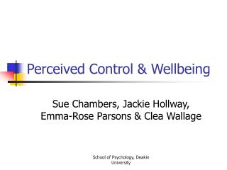 Perceived Control & Wellbeing