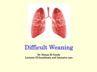 Difficult Weaning Dr. Hanaa El Gendy Lecturer Of Anesthesia and Intensive care
