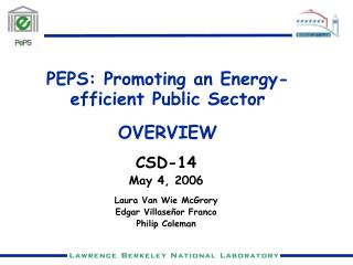 PEPS: Promoting an Energy-efficient Public Sector OVERVIEW