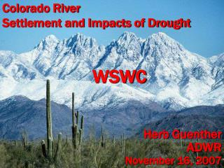 Colorado River Settlement and Impacts of Drought