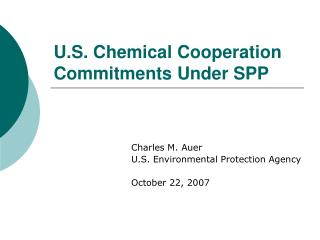 U.S. Chemical Cooperation Commitments Under SPP