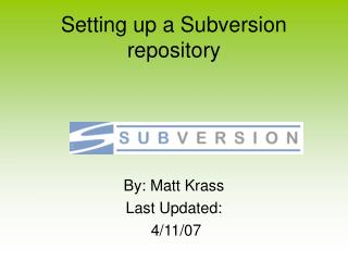 Setting up a Subversion repository