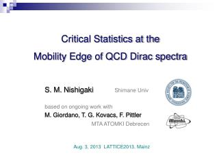Critical Statistics at the  Mobility Edge of QCD Dirac spectra