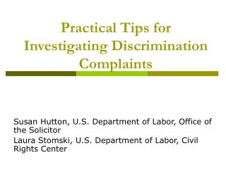 Practical Tips for Investigating Discrimination Complaints