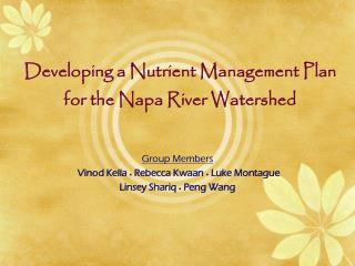 Developing a Nutrient Management Plan for the Napa River Watershed