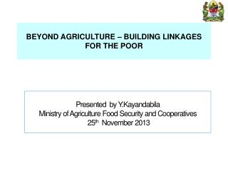 BEYOND AGRICULTURE – BUILDING LINKAGES FOR THE POOR