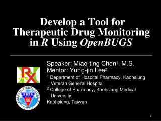 Develop a Tool for Therapeutic Drug Monitoring  in  R  Using  OpenBUGS