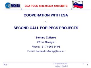 ESA PECS procedures and EMITS