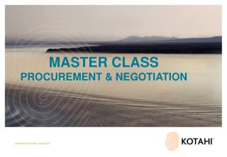 MASTER CLASS PROCUREMENT & NEGOTIATION