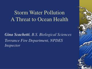 Storm Water Pollution   A Threat to Ocean Health