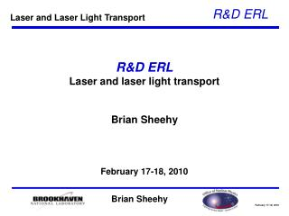 R&D ERL Laser and laser light transport