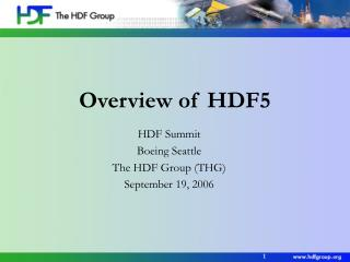 Overview of HDF5