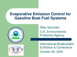 Evaporative Emission Control for Gasoline Boat Fuel Systems