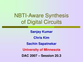 NBTI-Aware Synthesis  of Digital Circuits