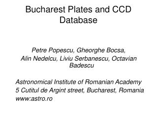 Bucharest Plates and CCD Database
