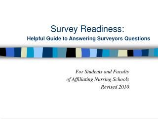 Survey Readiness: Helpful Guide to Answering Surveyors Questions