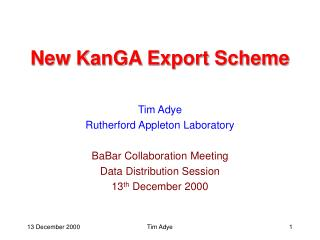 New KanGA Export Scheme