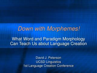 Down with Morphemes!