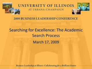 Searching for Excellence: The Academic Search Process