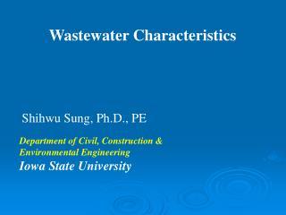 Wastewater Characteristics