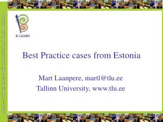 Best Practice cases from Estonia