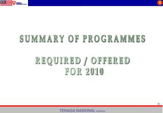 SUMMARY OF PROGRAMMES  REQUIRED / OFFERED  FOR 2010
