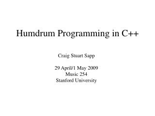 Humdrum Programming in C++