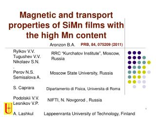 Magnetic and transport properties of SiMn films with the high Mn content
