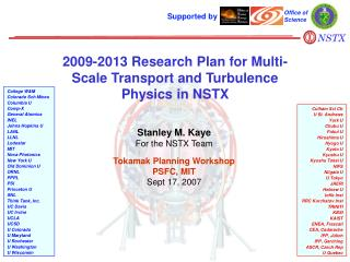 2009-2013 Research Plan for Multi-Scale Transport and Turbulence Physics in NSTX