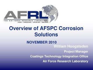 Overview of AFSPC Corrosion Solutions NOVEMBER 2010